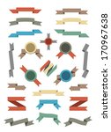 flat color ribbons and badges... | Shutterstock . vector #170967638