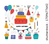 birthday party isolated... | Shutterstock .eps vector #1709677642