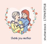 happy mother's day. mom and her ... | Shutterstock .eps vector #1709692918