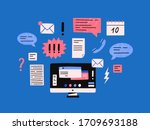 cartoon computer monitor with... | Shutterstock .eps vector #1709693188