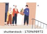elderly couple in face masks... | Shutterstock .eps vector #1709698972