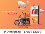 delivery motorcycle rider for...   Shutterstock .eps vector #1709712298