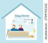 stay home stay safe  elderly... | Shutterstock .eps vector #1709752132