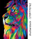 Colorful Lion Head On Pop Art...