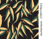 seamless pattern of eucalyptus... | Shutterstock .eps vector #1709779012
