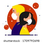 a girl and a guy in medical...   Shutterstock .eps vector #1709792698