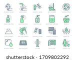 disinfection line icons. vector ... | Shutterstock .eps vector #1709802292