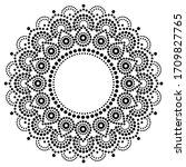 bohemian mandala dot painting... | Shutterstock .eps vector #1709827765