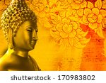 Buddha Gold Statue On Golden...