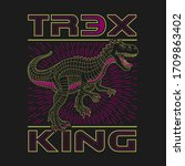 dinosaur illustration  tee... | Shutterstock .eps vector #1709863402