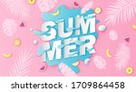 summer calligraphy on sea water ... | Shutterstock .eps vector #1709864458