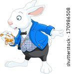 white rabbit with pocket watch | Shutterstock .eps vector #170986508
