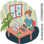 stay at home vector illustration | Shutterstock .eps vector #1709880058