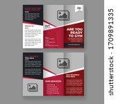 fitness gym tri fold brochure...   Shutterstock .eps vector #1709891335