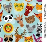 seamless pattern with funny... | Shutterstock .eps vector #170989436