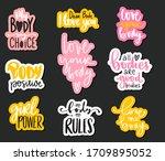 body positive  feminism sticker ... | Shutterstock .eps vector #1709895052
