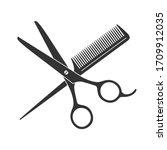 scissors and hairbrush graphic... | Shutterstock .eps vector #1709912035