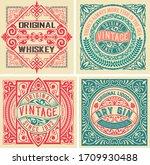 set of 4 vintage labels. vector ... | Shutterstock .eps vector #1709930488