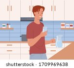 man holding a glass of water... | Shutterstock .eps vector #1709969638