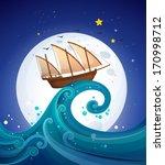 illustration of a wooden boat... | Shutterstock .eps vector #170998712