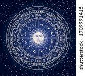 vector circle of zodiac signs...   Shutterstock .eps vector #1709991415