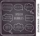 set of hand drawn speech and... | Shutterstock .eps vector #171001646