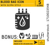 blood bag vector icon with...