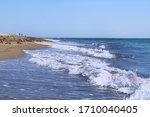 Sea Landscape  Sandy Beach Wit...