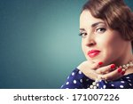 portrait of retro woman with... | Shutterstock . vector #171007226
