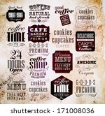 retro coffee  labels and... | Shutterstock .eps vector #171008036