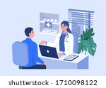 man talking with woman doctor... | Shutterstock .eps vector #1710098122