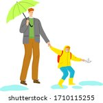 father with umbrella walking...   Shutterstock .eps vector #1710115255