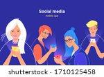 people using social media...   Shutterstock .eps vector #1710125458