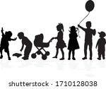 silhouette of children on white ... | Shutterstock .eps vector #1710128038