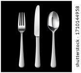 set cutlery of fork  spoon.... | Shutterstock .eps vector #1710144958