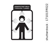 Disinfectant Walk Through Tunnel Black And White Icon Vector Illustration.