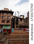 Beautiful, rebuilt parts of the Durbar Square in Bhaktapur, Kathmandu.