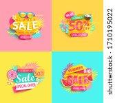 bright summer sale banner  set...   Shutterstock .eps vector #1710195022