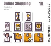 online shopping icons outline...