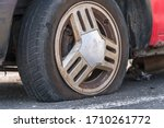 deflated car wheel  tire  on... | Shutterstock . vector #1710261772