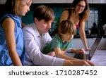 cute children use laptop for... | Shutterstock . vector #1710287452