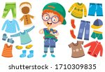 little kid and colorful clothes | Shutterstock .eps vector #1710309835