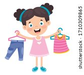 little kid and colorful clothes | Shutterstock .eps vector #1710309865