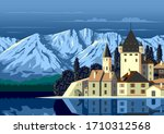 alpine landscape with a... | Shutterstock .eps vector #1710312568