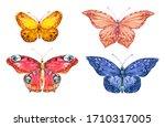 Set Of Watercolor Butterflies...