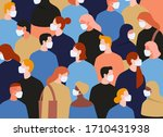 group of people wearing medical ... | Shutterstock .eps vector #1710431938