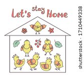 stay at home. hand drawn family ... | Shutterstock .eps vector #1710449338