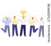 teamwork happy to score winner... | Shutterstock .eps vector #1710509938