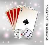 playing card and dice | Shutterstock .eps vector #171055472