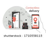contactless delivery service.... | Shutterstock .eps vector #1710558115